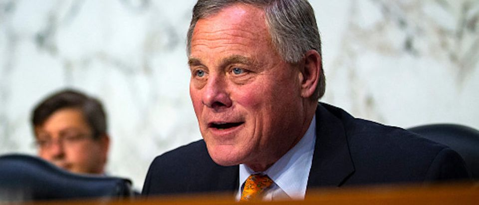 Sen. Richard Burr, a Republican from North Carolina, chairman of the Senate Intelligence Committee, questions retired Vice Adm. Joseph Maguire during a Senate Intelligence Committee confirmation hearing, to become the director of the National Counterterrorism Center, on Capitol Hill, on July 25, 2018 in Washington, D.C. (Photo by Al Drago/Getty Images)