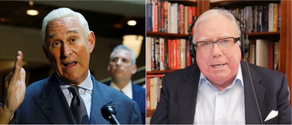 Roger Stone (left; Getty Images) and Jerome Corsi (right; YouTube screen grab) are pictured.