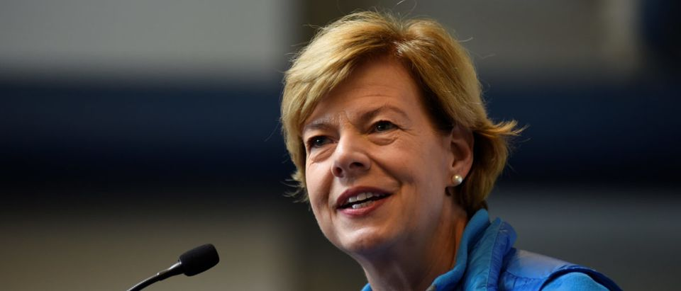 U.S. Senator Tammy Baldwin (D-WI) speaks at a campaign event in Beloit, Wisconsin