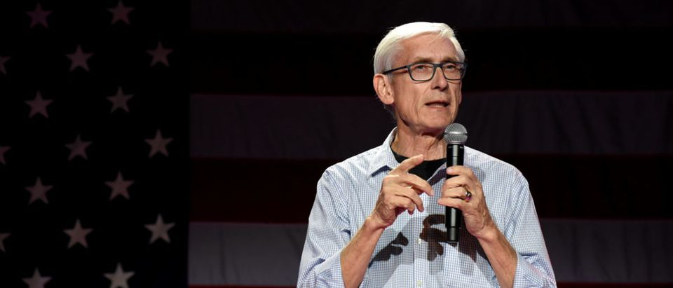 Democratic gubernatorial candidate Tony Evers speaks at an election eve rally in Madison, Wisconsin, U.S. November 5, 2018. REUTERS/Nick Oxford