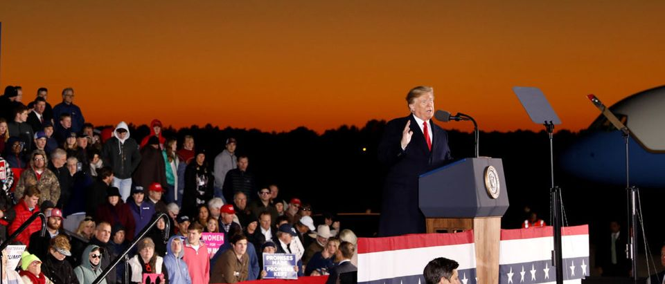 U.S. President Trump speaks at a campaign rally for Republican U.S. Senator Hyde-Smith in Tupelo, Mississippi