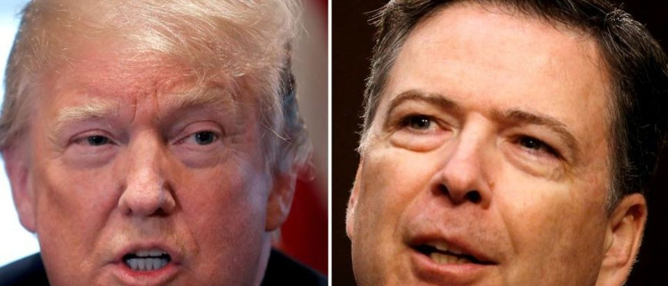 A combination of file photos show U.S. President Donald Trump in the White House in Washington, DC, U.S. April 9, 2018 and former FBI Director James Comey on Capitol Hill in Washington, U.S., June 8, 2017. REUTERS/Carlos Barria, Jonathan Ernst/File Photos/File Photo
