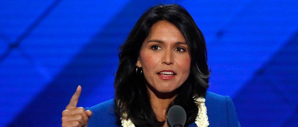 Representative Gabbard delivers a nomination speech for Sanders on the second day at the Democratic National Convention in Philadelphia