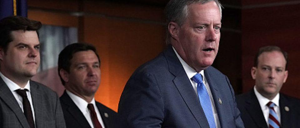 U.S. Rep. Mark Meadows (R-NC) speaks as (L-R) Rep. Matt Gaetz (R-FL), Rep. Ron DeSantis (R-FL) and Rep. Lee Zeldin (R-NY) listen during a news conference May 22, 2018 on Capitol Hill in Washington, DC