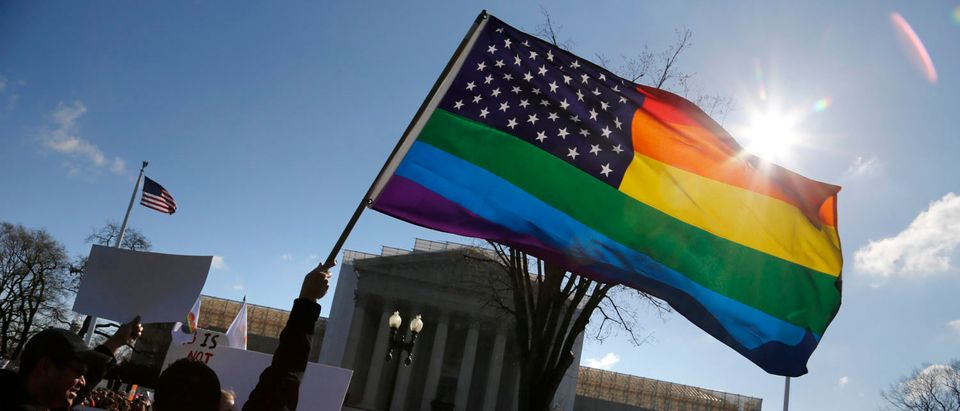 Anti-Proposition 8 protesters wave a rainbow flag in front of the U.S. Supreme Court in Washington, March 26, 2013. REUTERS/Jonathan Ernst