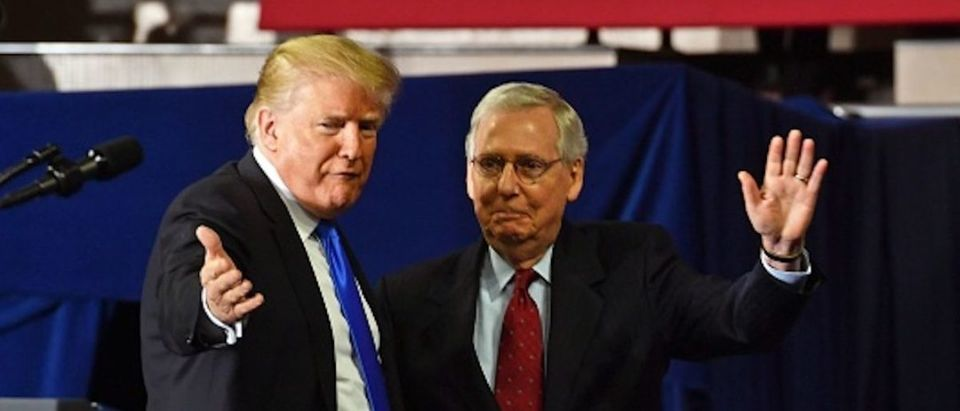 US President Donald Trump (L) introduces US Senate Majority Leader Mitch McConnell (R-KY) during a 'Make America Great Again' rally at the Eastern Kentucky University, in Richmond, Kentucky