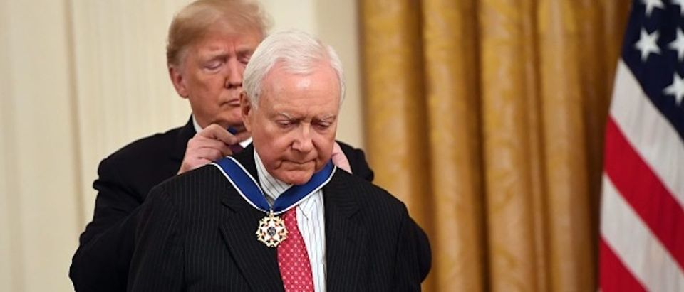 US President Donald Trump awards the Presidential Medal of Freedom to retiring Utah US Senator Orrin Hatch at the White House in Washington, DC, on November 16, 2018