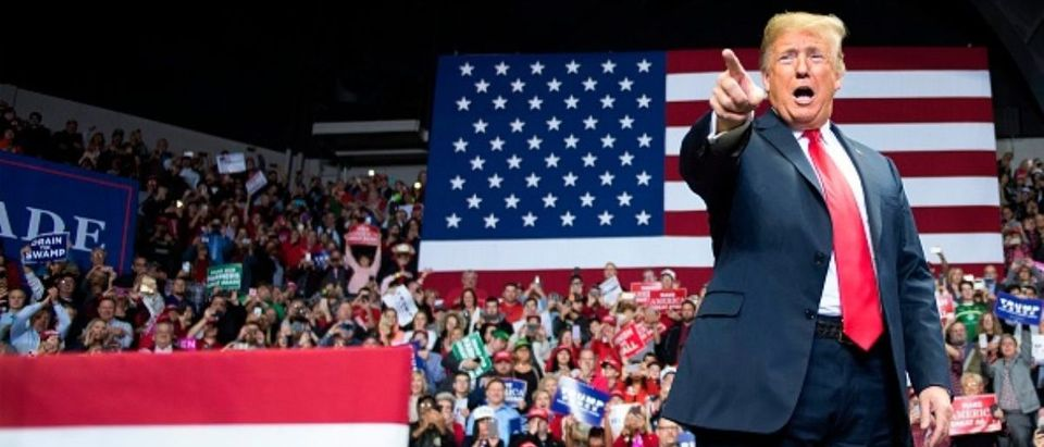 President Donald Trump delivers remarks at a Make America Great Again rally in Fort Wayne, Indiana on Nov. 5, 2018. (Photo: JIM WATSON/AFP/Getty Images)