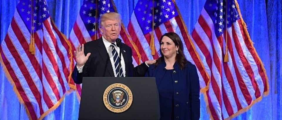 US President Donald Trump speaks after his introduction by RNC Chairwoman Ronna Romney McDaniel at a fundraising breakfast in a restaurant in New York, New York on December 2, 2017