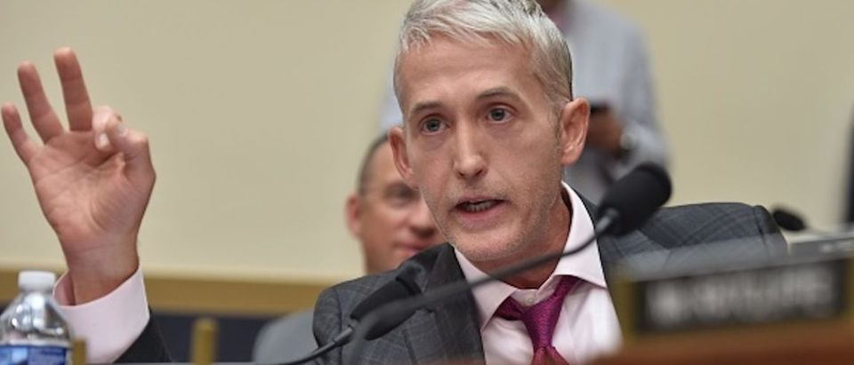 "U.S. Representative for South Carolina Trey Gowdy asks a question during a congressional House Judiciary Committee hearing on ""Oversight of FBI and DOJ Actions Surrounding the 2016 Election,"" in Washington, D.C, on June 28 2018. (Photo: NICHOLAS KAMM/AFP/Getty Images)"