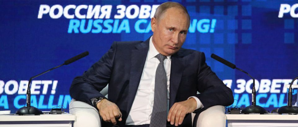 Vladimir Putin, Russia's president, pauses as he speaks during the plenary panel at the annual VTB Capital 'Russia Calling' Forum --Bloomberg via Getty Images