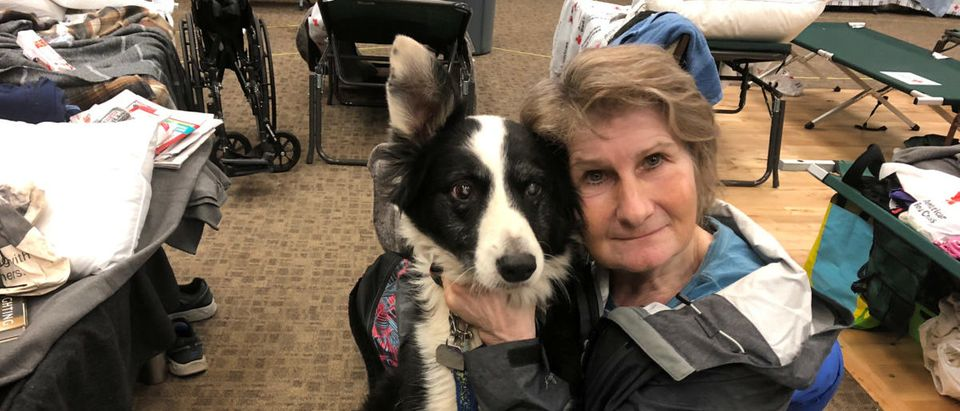 Mare Reasons poses with her dog at The Neighborhood Church shelter after losing her home of 20 years due to the wildfires, in Chico, California, U.S., November 12, 2018. REUTERS/Sharon Bernstein