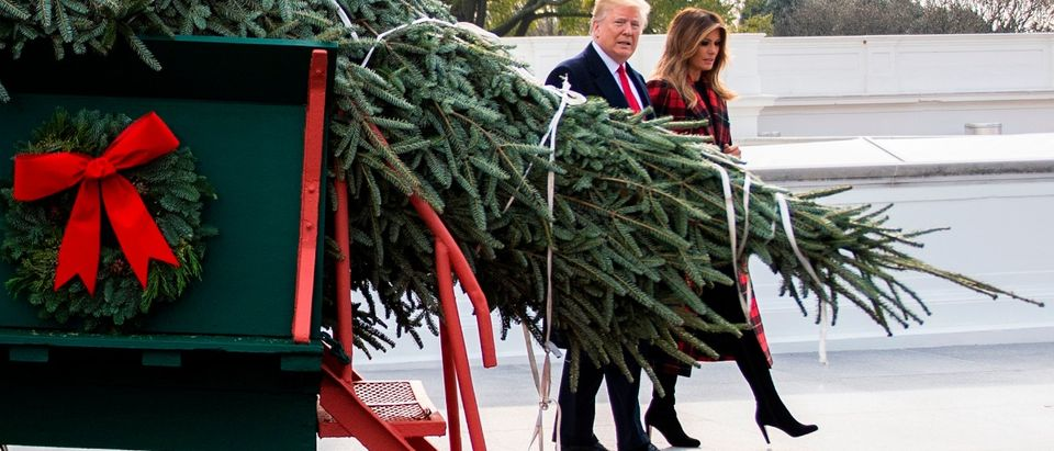 US President Donald Trump and First Lady Melania Trump participate in the White House Christmas Tree delivery at the White House in Washington, DC, on November 19, 2018. (Photo by Jim WATSON / AFP) (JIM WATSON/AFP/Getty Images)
