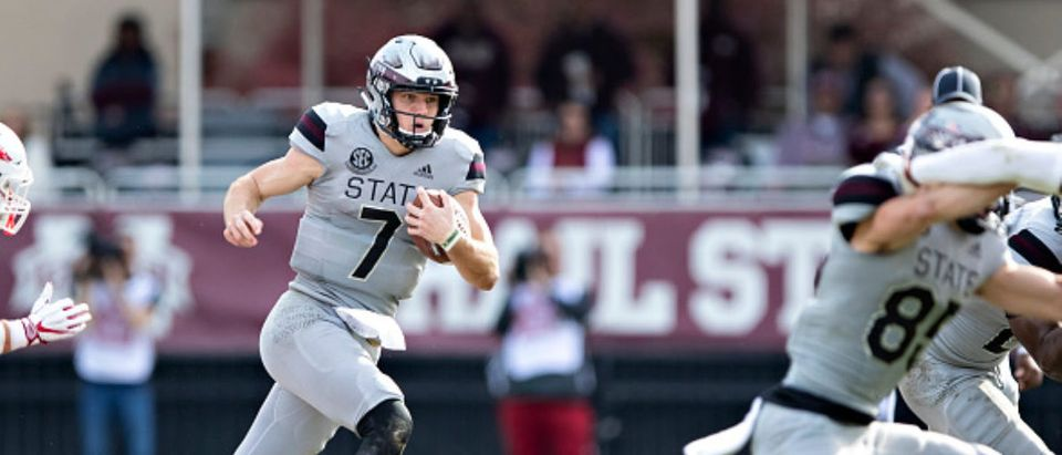 STARKVILLE, MS - NOVEMBER 17: Nick Fitzgerald #7 of the Mississippi State Bulldogs runs the ball in the second half of a game against the Arkansas Razorbacks at Davis Wade Stadium on November 17, 2018 in Starkville, Mississippi. The Bulldogs defeated the Razorbacks 52-6.