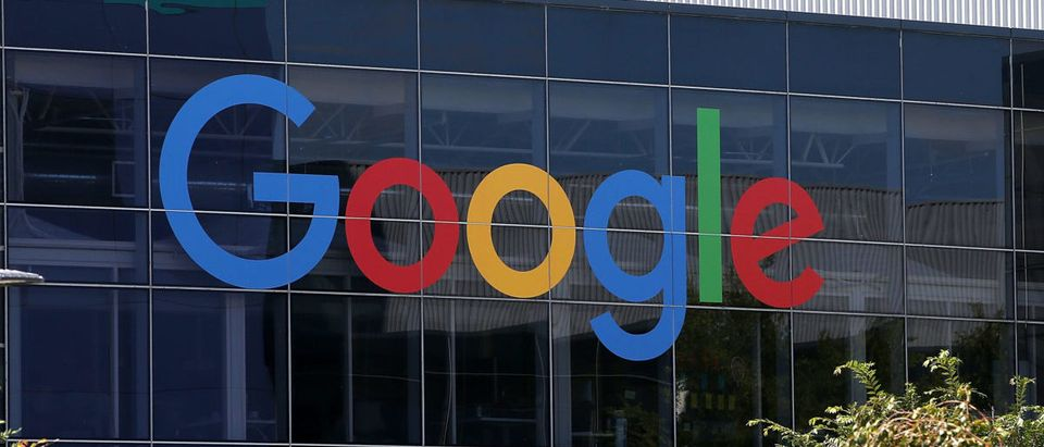 Google displays its new logo (Photo by Justin Sullivan/Getty Images)