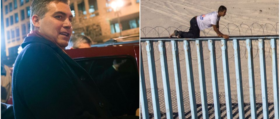 Left: CNN chief White House correspondent Jim Acosta (Andrew Caballero-Reynolds/AFP/Getty), Right: Migrant Sits On Top Of U.S.-Mexico Border Fence (Guillermo Arias/AFP/Getty)