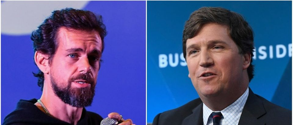Left: Twitter CEO Jack Dorsey (PRAKASH SINGH/AFP/Getty Images), Right: Fox News' Tucker Carlson (Roy Rochlin/Getty Images)