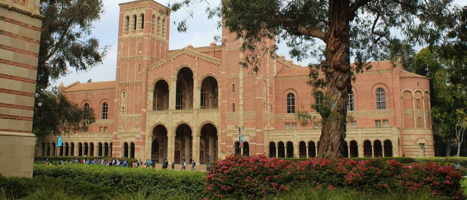 LOS ANGELES - APRIL 2018: UCLA Royce Hall façade in April 2018 in Los Angeles. One of the four original buildings on UCLA's campus, the structure is the university's best known landmark. (Pamela Brick/Shutterstock)