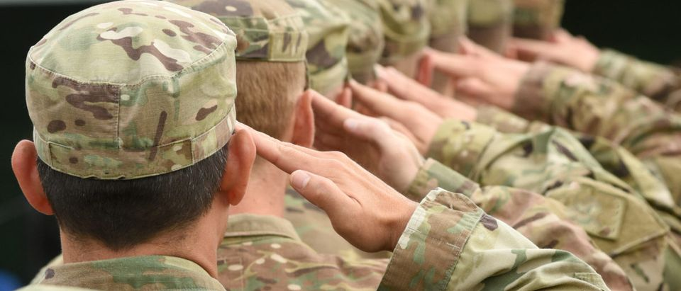 U.S. soldiers salute. Shutterstock image via user Bumble Dee