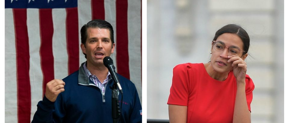 LEFT: Donald Trump Jr. speaks at a campaign rally for Rick Saccone, Republican Congressional candidate for Pennsylvania's 18th district March 12, 2018 (Drew Angerer/Getty Images) RIGHT: Democratic congresswoman-elect Alexandria Ocasio-Cortez arrives for the 116th Congress members-elect group photo on the East Front Plaza on November 14, 2018. (Mandel Ngan/AFP/Getty Images)