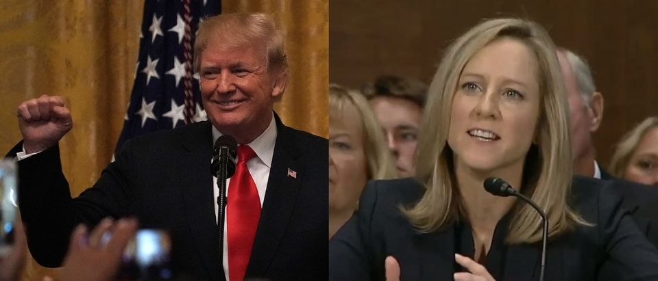 Kathy Kraninger was confirmed as the Consumer Financial Protection Bureau's director Dec. 6, 2018. Alex Wong/Getty Images and YouTube screenshot/SenJackReed