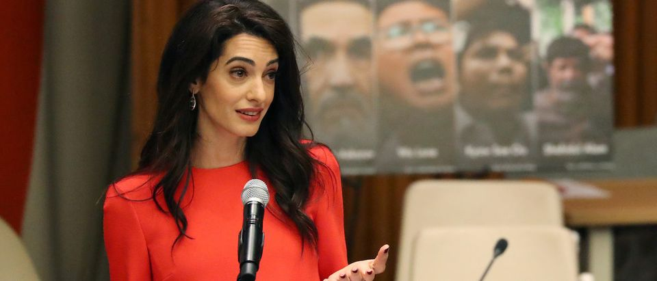 Attorney Amal Clooney speaks during the Press Behind Bars: Undermining Justice and Democracy Justice event during the 73rd session of the United Nations General Assembly at U.N. headquarters in New York, U.S., September 28, 2018. REUTERS/Shannon Stapleton