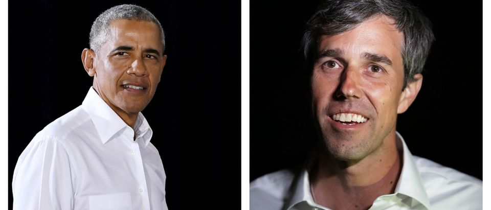 LEFT: Former President Barack Obama arrives at a get-out-the-vote rally at the Cox Pavilion as he campaigns for Nevada Democratic candidates on Oct. 22, 2018 in Las Vegas. (Ethan Miller/Getty Images) RIGHT: U.S. Senate candidate Rep. Beto O'Rourke talks with reporters before addressing a Blockwalk Celebration at Good Records after a day of door-to-door canvassing Nov. 3, 2018 in Dallas, Texas. (Chip Somodevilla/Getty Images)