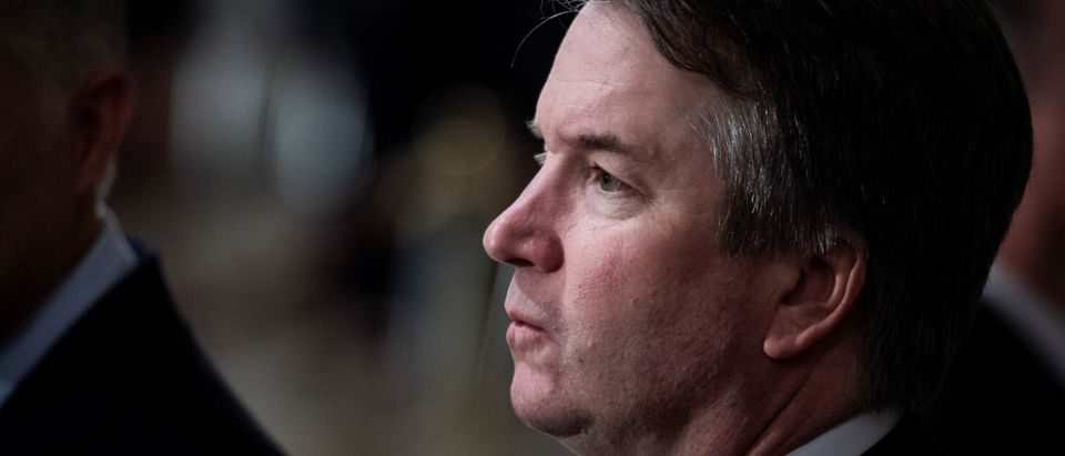 Justice Brett M. Kavanaugh waits for the arrival of Former President George H.W. Bush to lie in State at the Capitol Rotunda. Jabin Botsford/Pool via Reuters