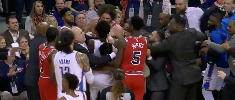 Bulls and Thunder argument (Credit: Screenshot/Twitter Video Bleacher Report)