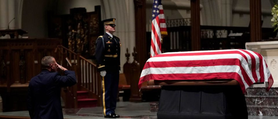 Casket Carrying President George H.W. Bush Arrives To St. Martin's Episcopal Church In Houston