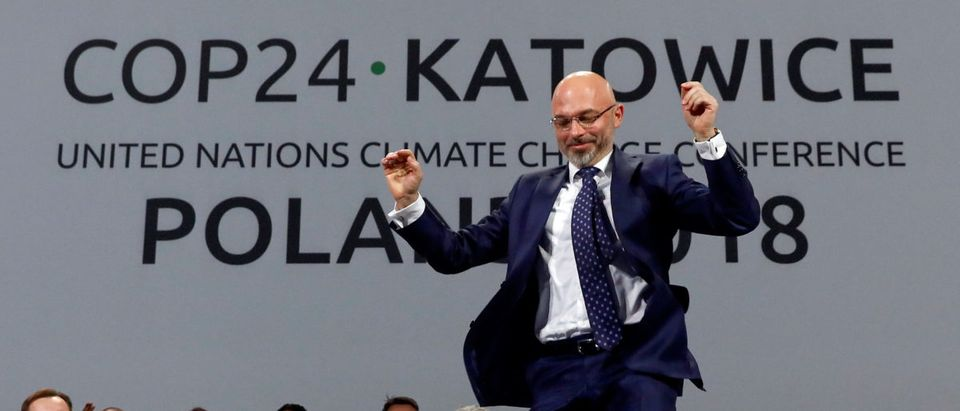 COP24 President Michal Kurtyka reacts during a final session of the COP24 U.N. Climate Change Conference 2018 in Katowice