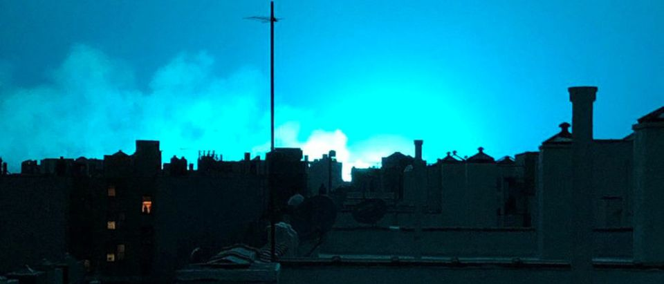 Bright blue light is seen after a transformer explosion on Thursday at an electric power station in Queens