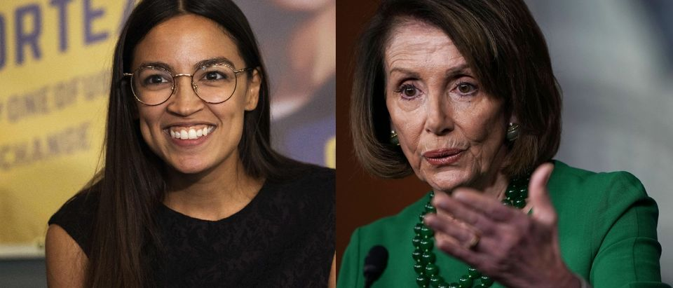 Democratic New York Rep.-elect Alexandria Ocasio-Cortez (L) has been at odds with House Minority Leader Nancy Pelosi (R). Alex Wong/Getty Images