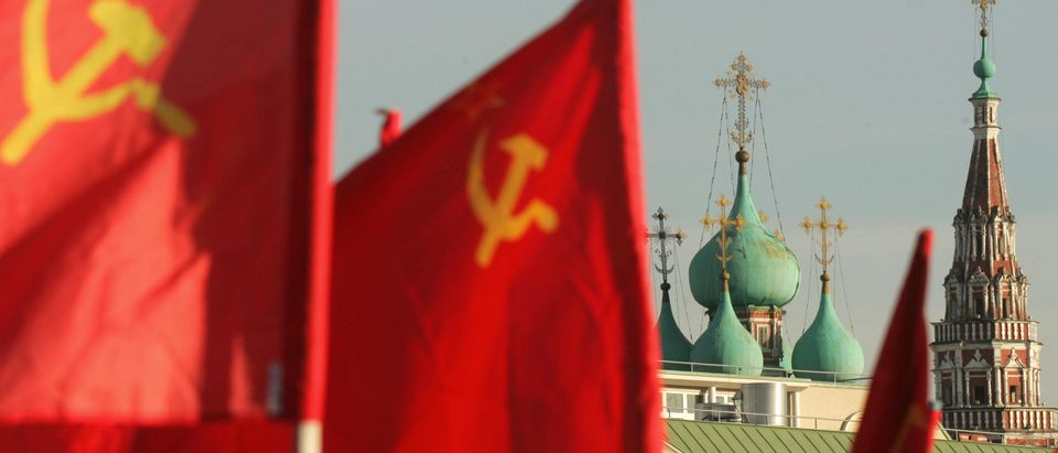Soviet red banners are seen in Moscow, a