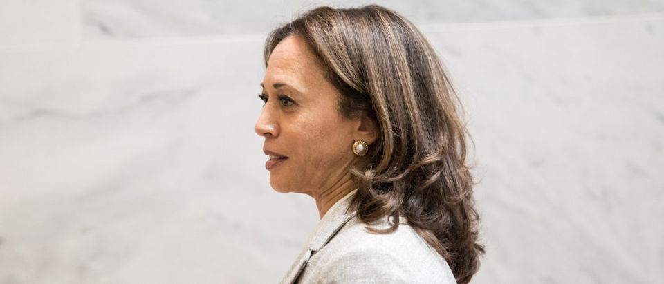 U.S. Senator Kamala Harris is seen after meeting with U.S. Supreme Court nominee Brett Kavanaugh at the Dirksen Senate Office Building in Washington