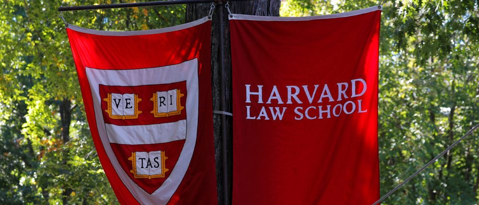 Banners for Harvard Law School fly during the inauguration of Lawrence Bacow as the 29th President of Harvard University in Cambridge, Massachusetts. REUTERS/Brian Snyder