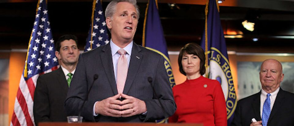 House Majority Leader Kevin McCarthy talks with reporters during a news conference with (L-R) Speaker of the House Paul Ryan, Rep. Cathy McMorris Rodgers and House Ways and Means Committee Chairman Kevin Brady (R-TX) following the weekly House Republican Conference meeting at the U.S. Capitol April 17, 2018 in Washington, D.C. (Photo by Chip Somodevilla/Getty Images)