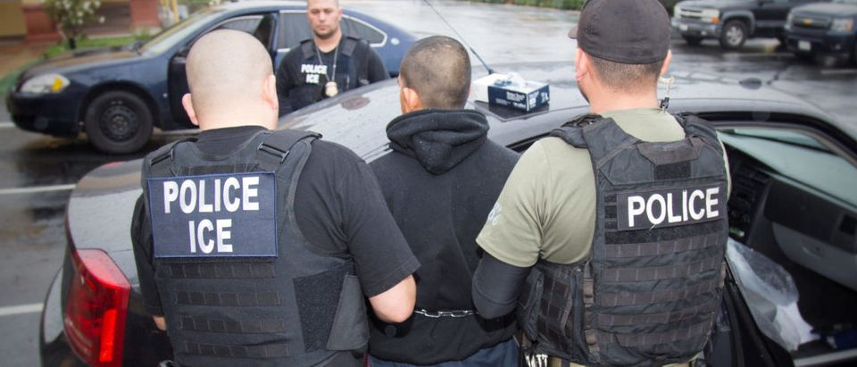 U.S. Immigration and Customs Enforcement (ICE) officers detain a suspect as they conduct a targeted enforcement operation in Los Angeles, California, U.S. on February 7, 2017. Picture taken on Feb. 7, 2017. Courtesy Charles Reed/ REUTERS