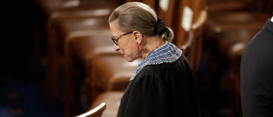 Justice Ruth Bader Ginsburg arrives to watch President Barack Obama's State of the Union address to a joint session of Congress on Capitol Hill. Jan. 20, 2015. REUTERS/Joshua Roberts