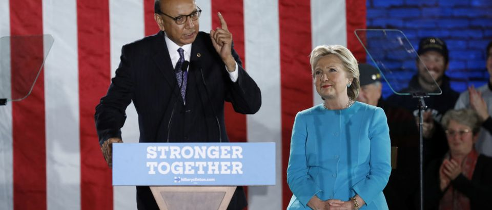 Gold Star father Khizr Khan speaks before introducing U.S. Democratic presidential nominee Hillary Clinton at a campaign rally in Manchester, New Hampshire