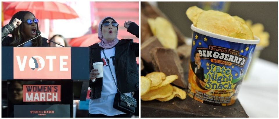 Linda Sarsour and Ben & Jerry's (LEFT: Ethan Miller/Getty Images RIGHT: Mike Coppola/Getty Images for Ben & Jerry's)
