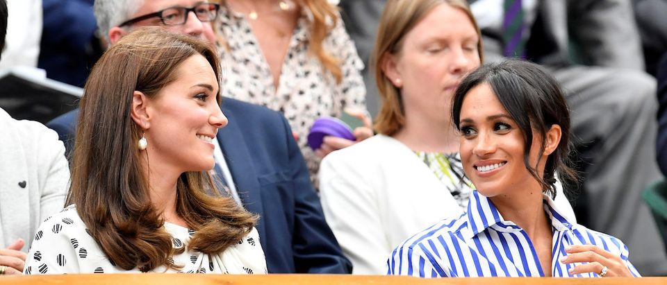 Tennis - Wimbledon - All England Lawn Tennis and Croquet Club, London, Britain - July 14, 2018. Britain's Catherine the Duchess of Cambridge and Meghan the Duchess of Sussex arrive to watch Spain's Rafael Nadal continue his semi final match against Serbia's Novak Djokovic, which was suspended yesterday, after running late. REUTERS/Toby Melville