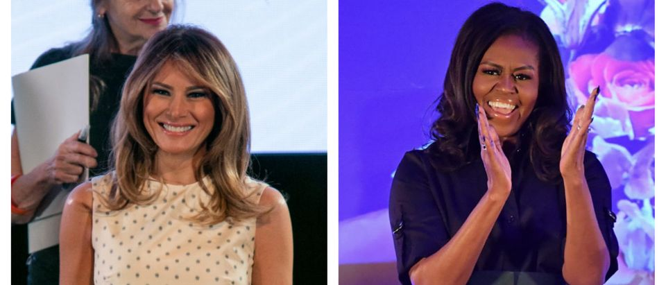 BUENOS AIRES, ARGENTINA - DECEMBER 01: U.S. First Lady Melania Trump smiles during a guided visit to MALBA (Latin American Museum of Arts) as part of G20 Partners' Programme on December 1, 2018 in Buenos Aires, Argentina. (Photo by Ricardo Ceppi/Getty Images). ormer US first lady Michelle Obama smiles during a visit to Elizabeth Garrett Anderson School in London on December 3, 2018, to discuss education issues during her tour to promote her memoir, 'Becoming'. - Former US first lady Michelle Obama's book, 'Becoming,' sold more than two million copies in North America in its first 15 days. She said Sunday she was canceling book tour visits to Paris and Berlin to attend the funeral of former president George H.W. Bush, who died Friday aged 94. (Photo by Ben STANSALL / AFP) (Photo credit should read BEN STANSALL/AFP/Getty Images)