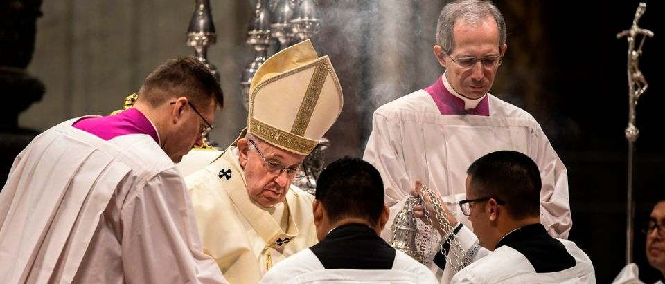 Pope Francis celebrates a mass for the Virgin of Guadalupe (Our Lady of Guadalupe) in St. Peters Basilica on Dec. 12, 2018 at the Vatican. (FILIPPO MONTEFORTE/AFP/Getty Images)