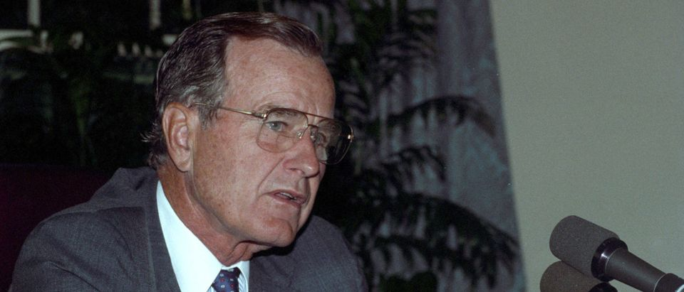 President George H.W. Bush at the White House after he addressed the tens of thousands of U.S. troops defending Saudi Arabia