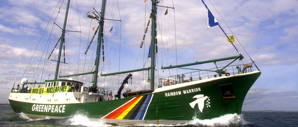 GREENPEACE SHIP RAINBOW WARRIOR LEADS A PEACEFULL PROTEST IN DUBLINBAY.
