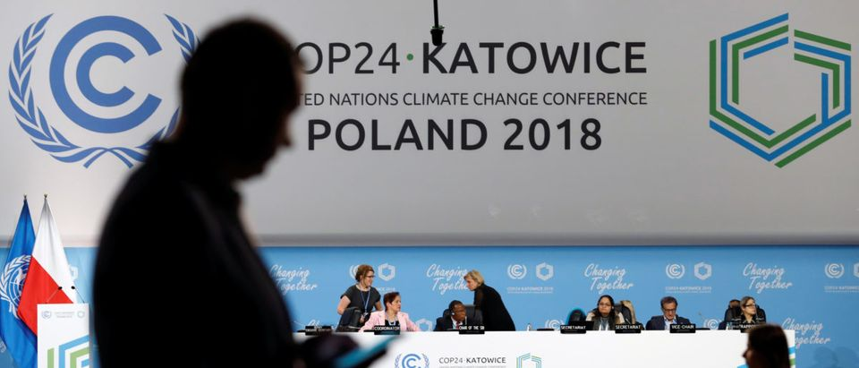 A participant's shilouette is seen during the COP24 UN Climate Change Conference 2018 in Katowice, Poland, Dec. 2, 2018. REUTERS/Kacper Pempel