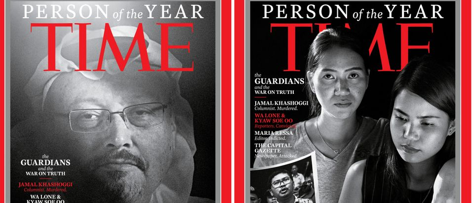 "Combination image of TIME's Person of the Year 2018 covers which named journalists, including a slain Saudi Arabian writer and a pair of Reuters journalists imprisoned by Myanmar's government, as its ""Person of the Year"