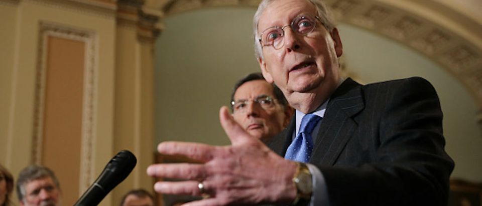 Senate Majority Leader Mitch McConnell (R) talks to reporters with Sen. John Barrasso following the weekly Senate Republican policy luncheon in the U.S. Capitol Nov. 27, 2018 in Washington, D.C. (Photo by Chip Somodevilla/Getty Images)