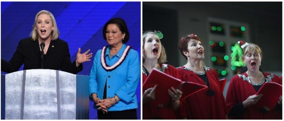 Sens Gillibrand and Christmas carolers (LEFT: SAUL LOEB/AFP/Getty Images RIGHT: Phil Walter/Getty Images)